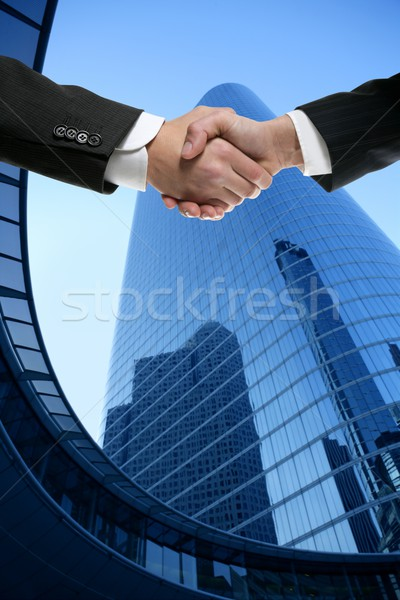Foto stock: Businessman partners shaking hands with suit